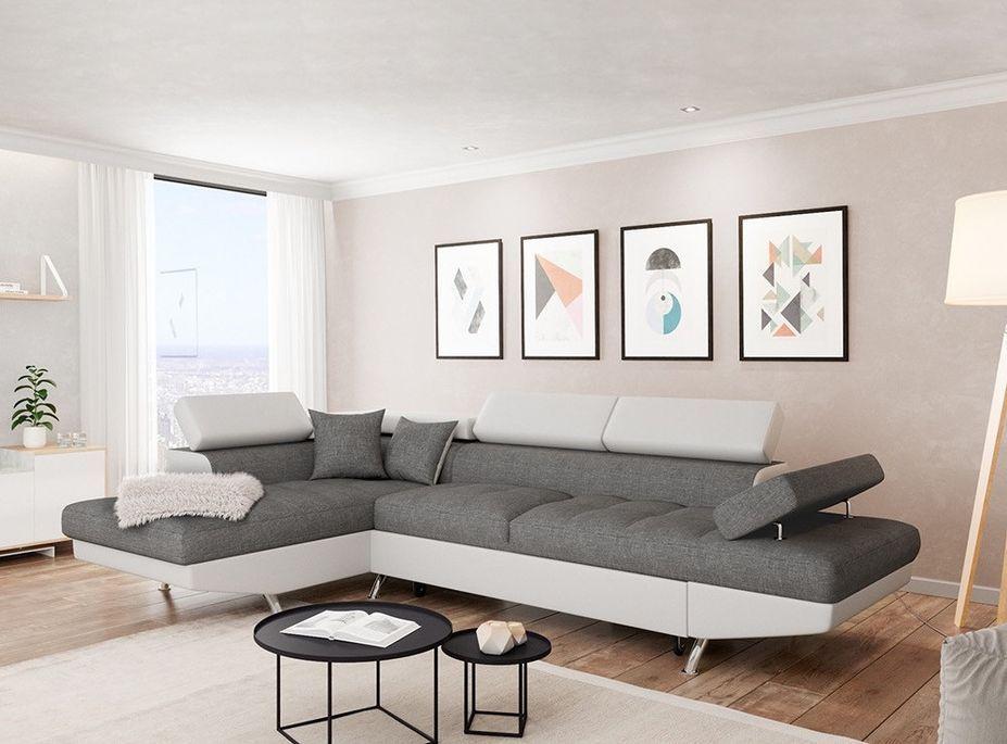 Canapé d'angle gauche convertible microfibre gris et simili blanc Mio 275 cm - Photo n°4