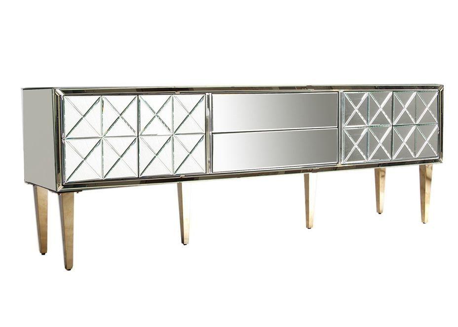 Meuble TV 2 portes 2 tiroirs miroir et pieds acier doré Barnes 200 cm - Photo n°1