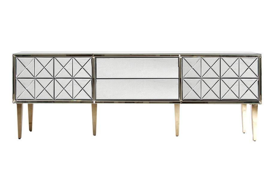 Meuble TV 2 portes 2 tiroirs miroir et pieds acier doré Barnes 200 cm - Photo n°2