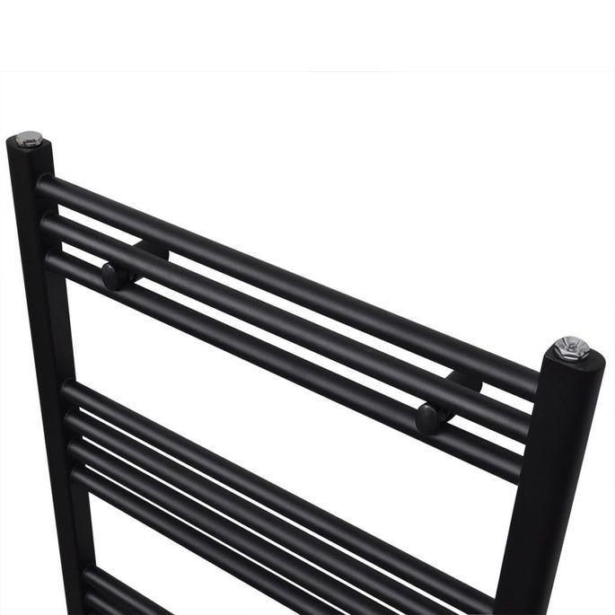 Sèche-serviettes eau chaude à rails droits Noirs de 500 x 764 mm - Photo n°3