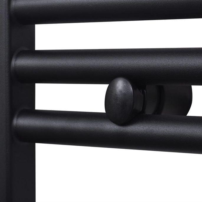 Sèche-serviettes eau chaude à rails droits Noirs de 500 x 764 mm - Photo n°5