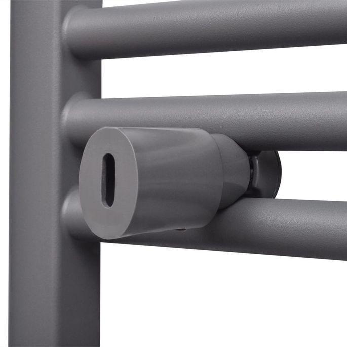Sèche-serviettes eau chaude à rails incurvés Gris de 480 x 480 mm - Photo n°7