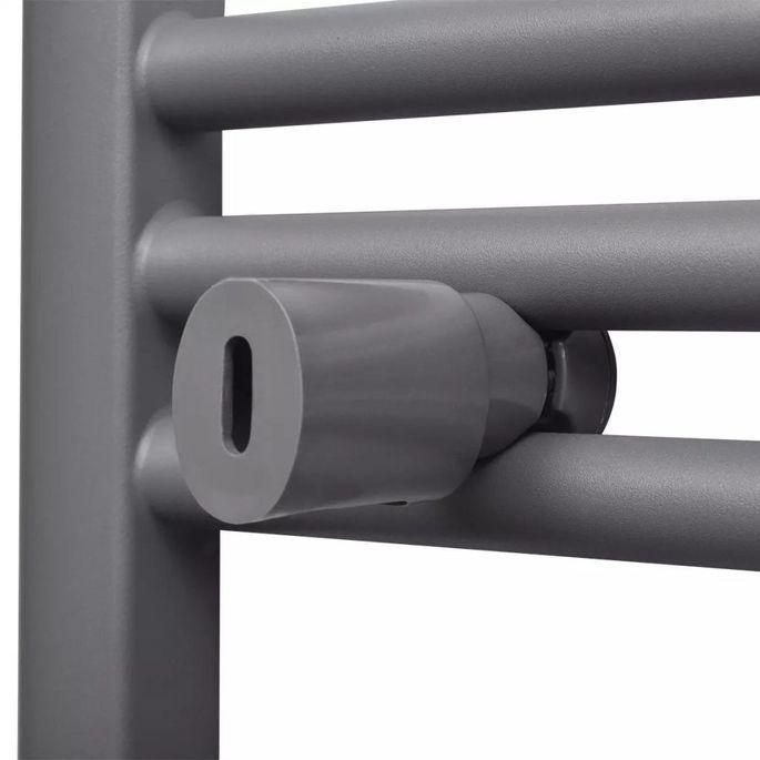 Sèche-serviettes eau chaude à rails incurvés Gris de 500 x 1160 mm - Photo n°6