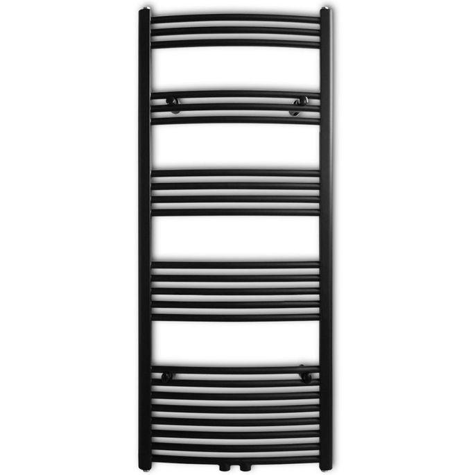 Sèche-serviettes eau chaude à rails incurvés Noirs de 600 x 1424 mm - Photo n°2