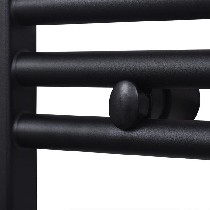 Sèche-serviettes eau chaude à rails incurvés Noirs de 600 x 1424 mm - Photo n°4