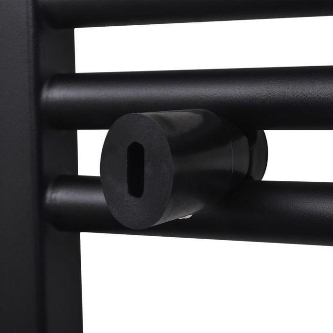 Sèche-serviettes eau chaude à rails incurvés Noirs de 600 x 1424 mm - Photo n°6