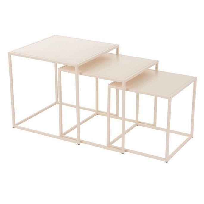 Set de 3 tables d'appoint métal beige Praji - Photo n°1