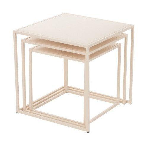 Set de 3 tables d'appoint métal beige Praji - Photo n°2