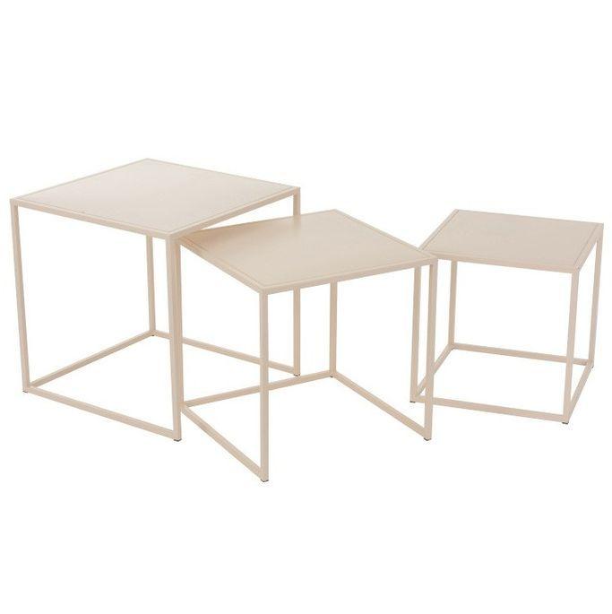 Set de 3 tables d'appoint métal beige Praji - Photo n°3