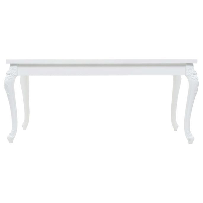 Table à manger rectangulaire blanc brillant Brack 180 - Photo n°2