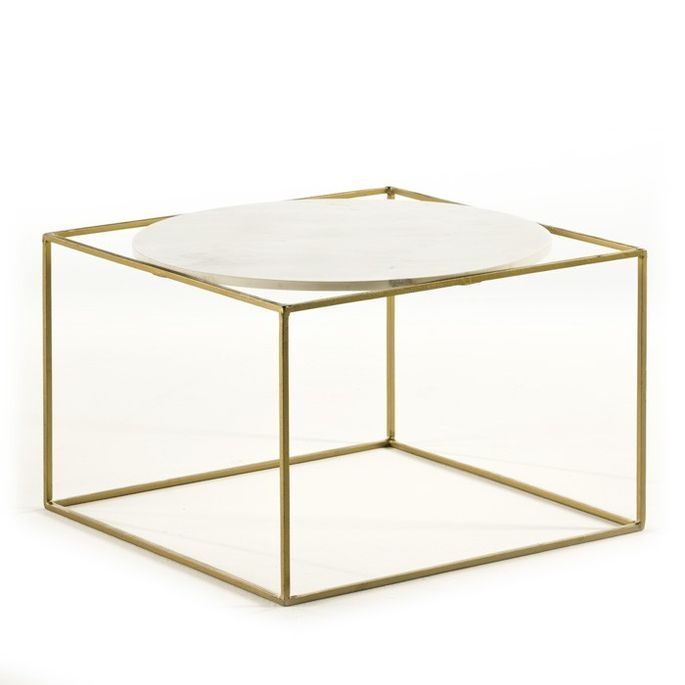 Table basse carrée marbre blanc et métal doré Frie - Photo n°1