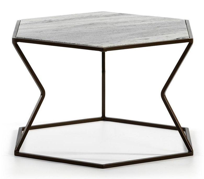 Table basse marbre gris et métal marron Trois - Photo n°2