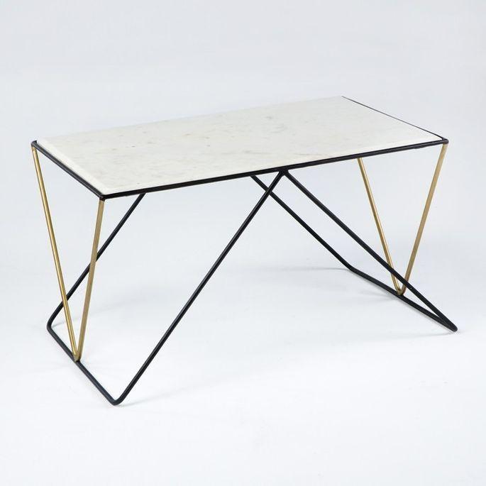Table basse rectangulaire marbre blanc et métal noir et doré Karl - Photo n°1