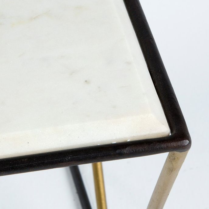 Table basse rectangulaire marbre blanc et métal noir et doré Karl - Photo n°2