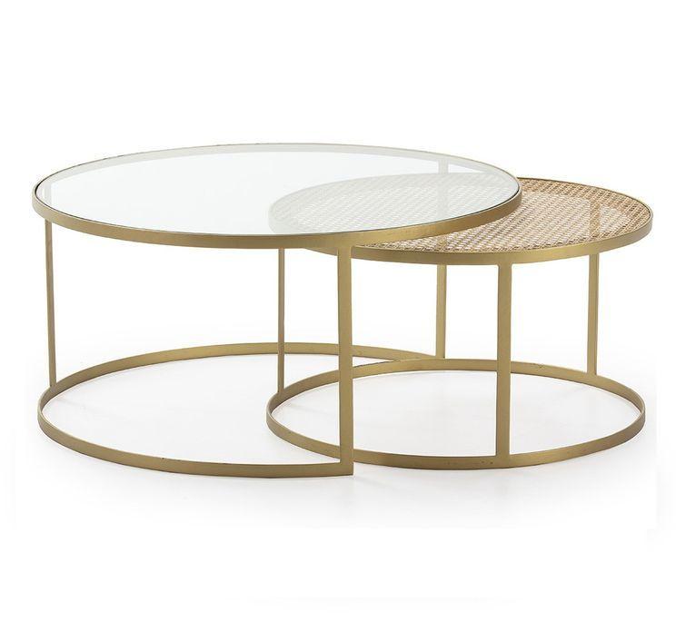 Table basse verre transparent rotin naturel et métal doré Brunie - Lot de 2 - Photo n°1