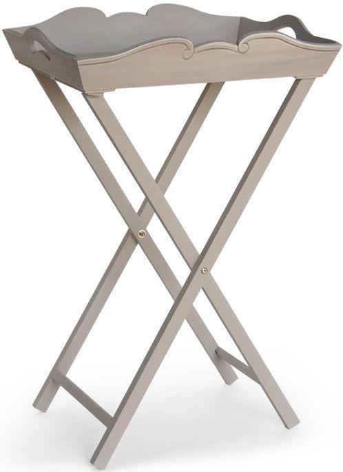 Table d'appoint bois peint vieilli beige Olive - Photo n°1