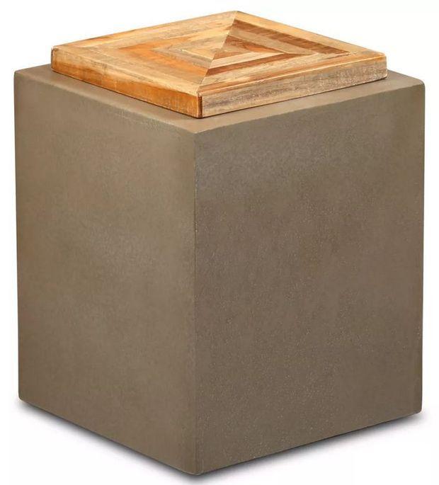 Table d'appoint carrée teck massif clair et pieds béton Tokako - Photo n°1