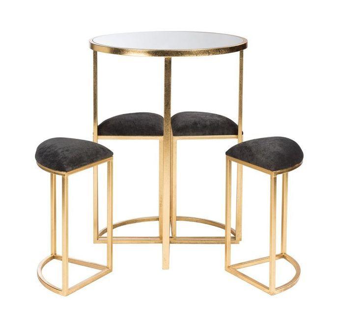 Table de bar et 4 tabourets métal doré et tissu noir Ysarg - Photo n°3
