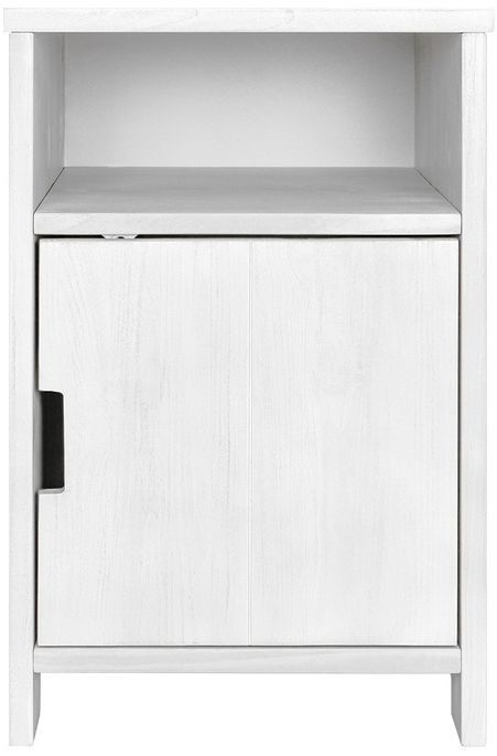 Table de chevet 1 porte 1 niche pin massif blanc Basic Wood - Photo n°1