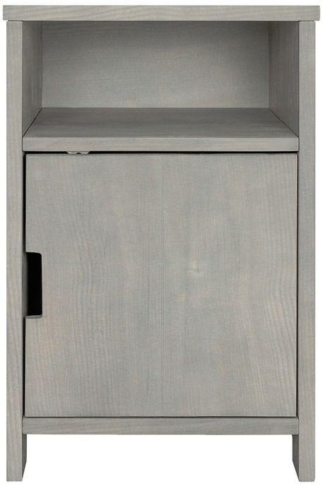 Table de chevet 1 porte 1 niche pin massif gris Basic Wood - Photo n°1