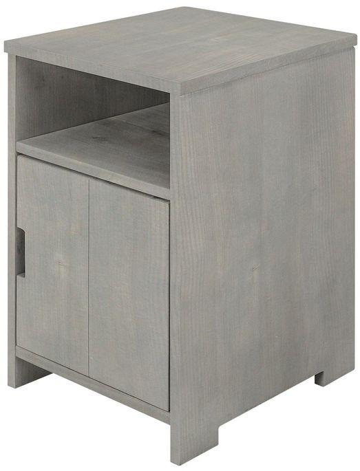 Table de chevet 1 porte 1 niche pin massif gris Basic Wood - Photo n°2