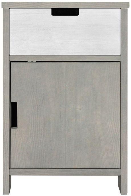 Table de chevet 1 porte 1 niche pin massif gris Basic Wood - Photo n°3