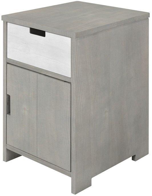 Table de chevet 1 porte 1 niche pin massif gris Basic Wood - Photo n°4