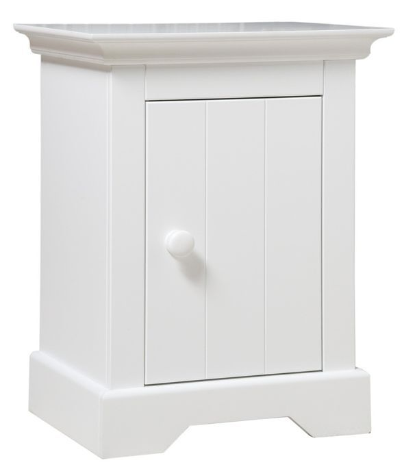 Table de chevet 1 porte bois blanc à rainures Narbonne - Photo n°1