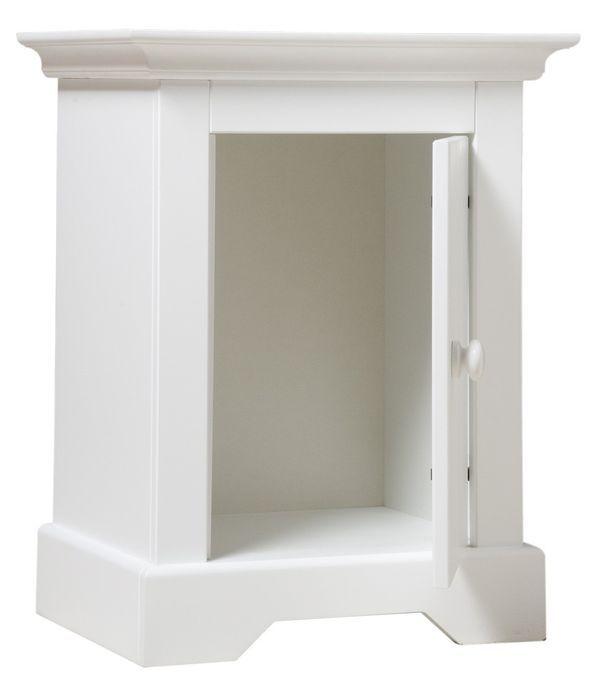 Table de chevet 1 porte bois blanc à rainures Narbonne - Photo n°2