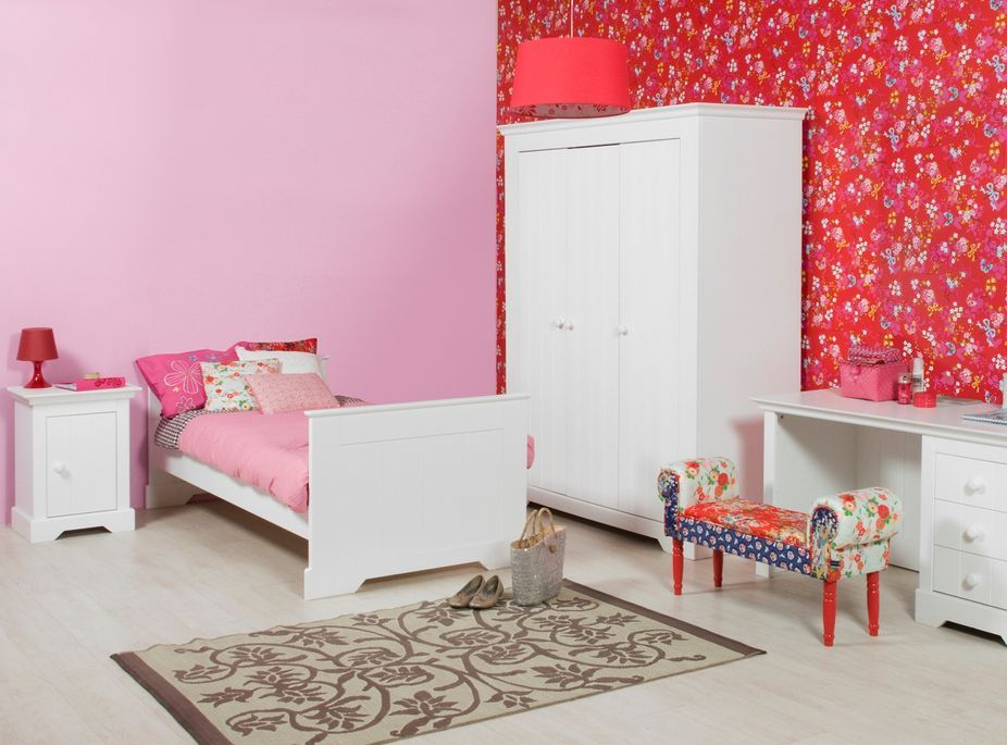Table de chevet 1 porte bois blanc à rainures Narbonne - Photo n°3