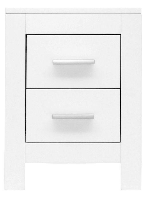 Table de chevet 2 tiroirs bois blanc Merel - Photo n°1