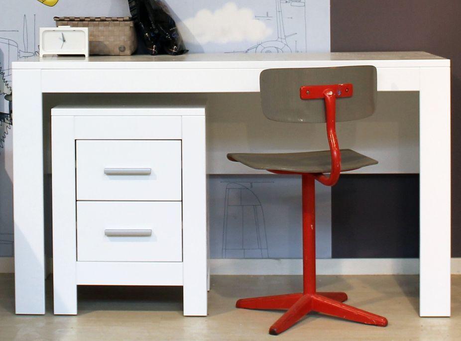 Table de chevet 2 tiroirs bois blanc Merel - Photo n°3