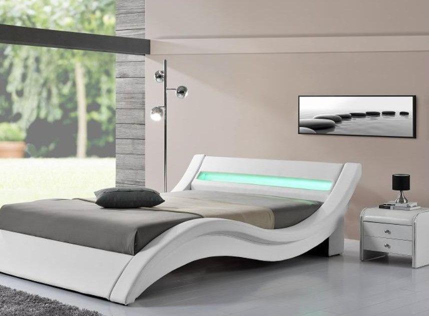 Table de chevet 2 tiroirs simili cuir blanc liseré noir Sleepa - Photo n°2