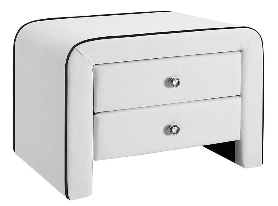 Table de chevet 2 tiroirs simili cuir blanc liseré noir Sleepa - Photo n°1