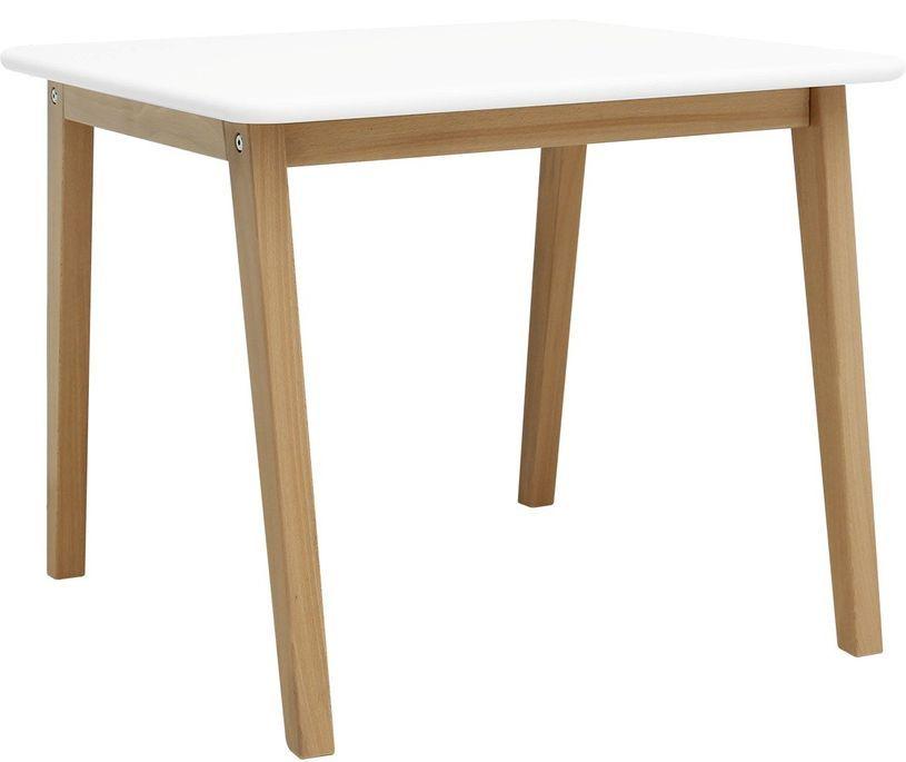 Table de jeu carrée blanche et pieds hêtre clair Ivar - Photo n°1