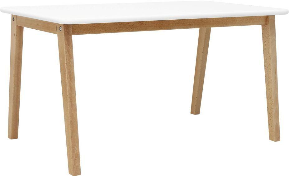 Table de jeu rectangulaire blanche et pieds hêtre clair Ivar - Photo n°1