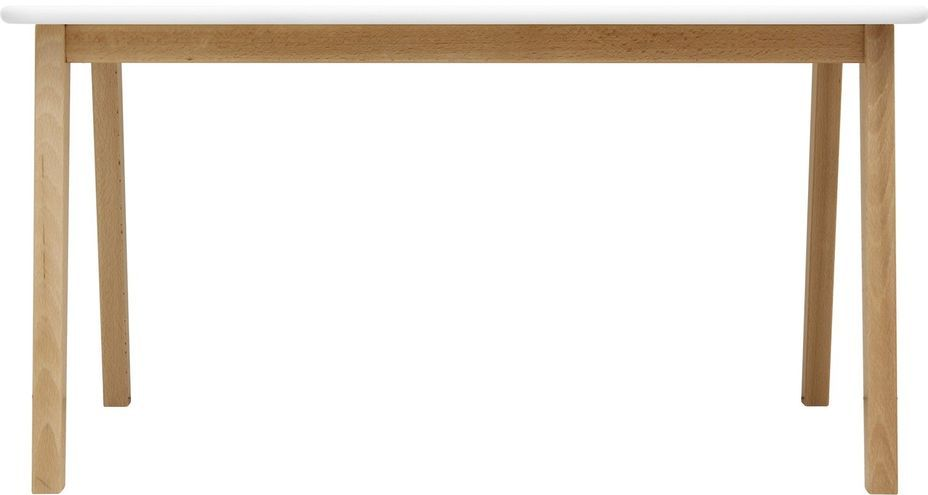 Table de jeu rectangulaire blanche et pieds hêtre clair Ivar - Photo n°2
