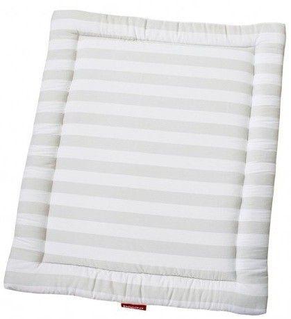 Tapis rectangulaire pour parc coton blanc à rayures Doucy - Photo n°1