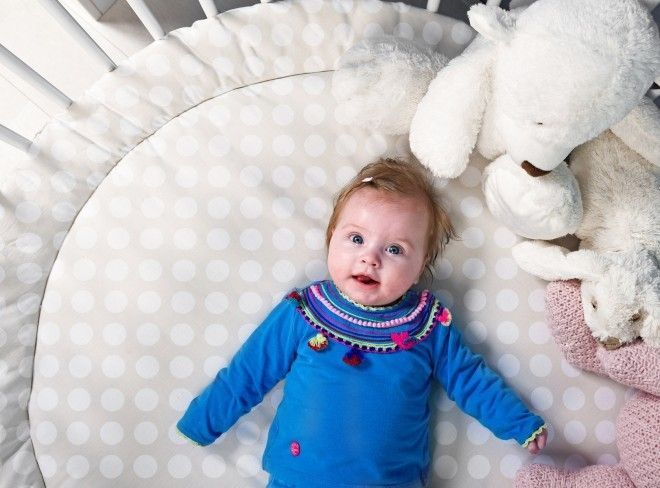 Tapis rond pour parc coton gris à pois Rondo - Photo n°2