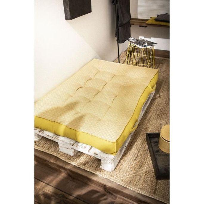 TODAY Matelas Palette Réversible - 100% Coton - Jaune - 120x80x15 cm SPIRIT GARDEN - Photo n°1
