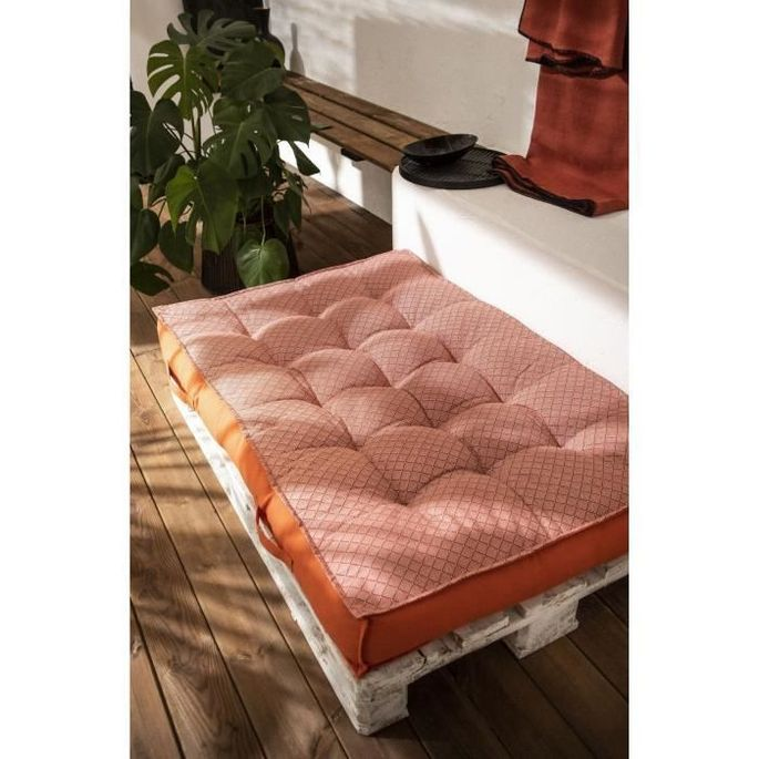 TODAY Matelas Palette Réversible - 100% Coton - Orange - 120x80x15 cm SPIRIT GARDEN - Photo n°1