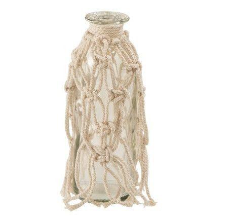 Vase verre transparent et corde beige Corali H 16 cm - Photo n°1