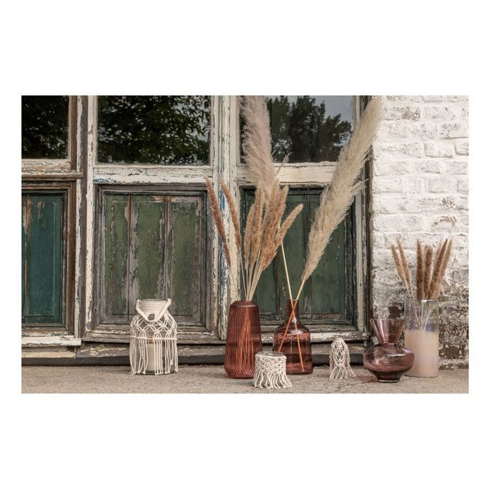 Vase verre transparent et corde beige Corali H 16 cm - Photo n°2