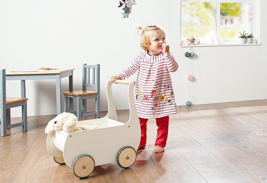 Voiture de poupée bouleau massif et laqué blanc Mette - Photo n°2