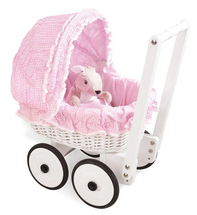 Voiture de poupée osier tressé blanc et tissu rose Marion - Photo n°1