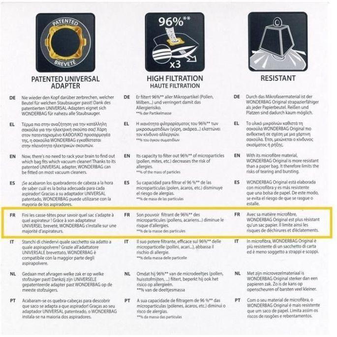 WPRO WB406-MW Sac pour aspirateur : UNIVERSEL - Photo n°2