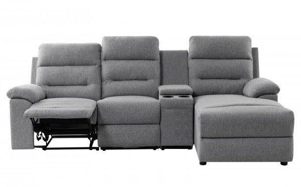 Canapé d'angle droit relax manuel 3 places tissu gris chiné avec appuis tête Helane - Photo n°1