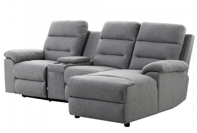 Canapé d'angle droit relax manuel 3 places tissu gris chiné avec appuis tête Helane - Photo n°2