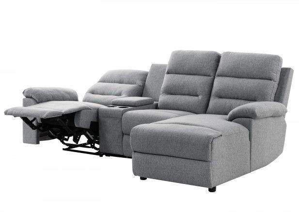 Canapé d'angle droit relax manuel 3 places tissu gris chiné avec appuis tête Helane - Photo n°3