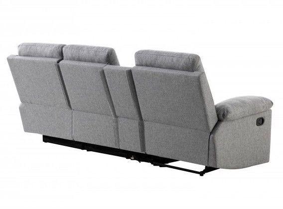 Canapé d'angle droit relax manuel 3 places tissu gris chiné avec appuis tête Helane - Photo n°4